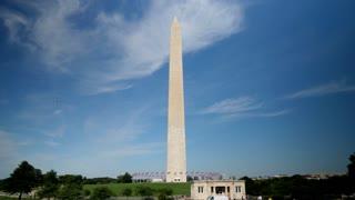 WASHINGTON, DC - Circa August, 2017 - A sunny daytime establishing shot of the Washington Monument. Shot in 5K.
