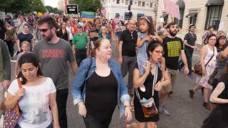 WASHINGTON, D.C. - Circa August, 2017 - Anti-hate protesters march on Pennsylvania Avenue after the tragic events in Charlottesville, Virginia.