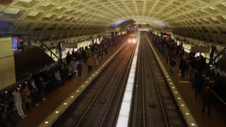 WASHINGTON DC - Circa March, 2018 - Trains arrive at the Metro Center subway station.