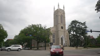 WILMINGTON, NC - Circa May, 2017 - A daytime overcast establishing shot of St. James Parish in Wilmington, North Carolina.