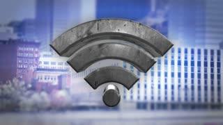 WiFi Logo n a large urban city.