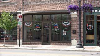 WOOSTER, OHIO - Circa August, 2015 - An establishing shot of the GOP headquarters in downtown Wooster, Ohio.