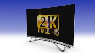 2k screen TV crumbles and becomes 4k. 3d render.