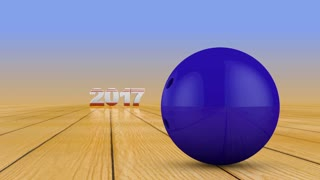 Bowling Ball and volumetric numbers 2018. 3d render.