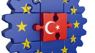 Gear-puzzle with a flag of the European Union and the Turkey.3D render.