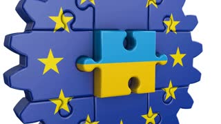 Gear-puzzle with a flag of the European Union and the  Ukrainian.3D render.
