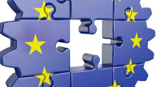Gear-puzzle with a flag of the European Union and the United Kingdom.3D render.Alpha channel is included.