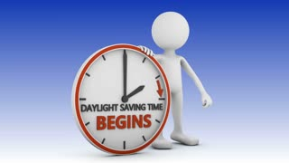 man points to the time change to daylight saving time on white background. 3d render.