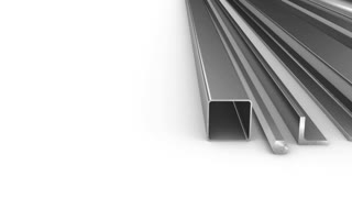 steel products for construction on a white background. 3D render.