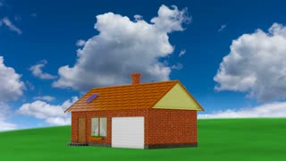 animation houses with solar panels and wind generator