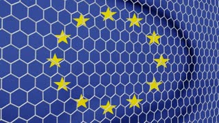 Ball in the net Soccer gate on the background of the EU flag. 3d rendering.