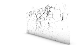 Destruction of a wall on a white background