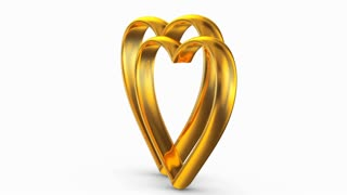 Golden hearts on a white background. 3D rendering