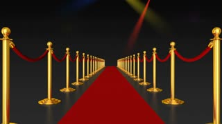 Red carpet and pillars with red ropes on the background of flashing lights. 3d render.