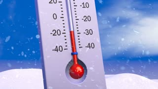 The thermometer on the background of melting snow and growing grass. 3d rendering.
