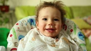 Portrait Little Baby Boy, Mother hand Feeding him