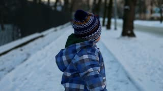 Portrait Of Baby Boy, Snowy Weather