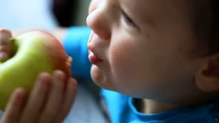 Cute little boy smiling while eating tasty apple