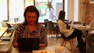Female woman working with laptop in restaurant