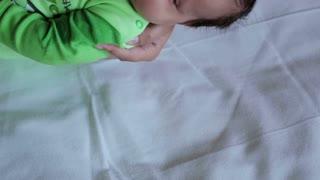Littel baby infant wakes up