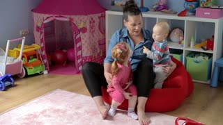 Mother talking and have fun with children