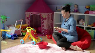 Women writing a massage in childrens room