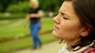 Woman with very strong headache in pain