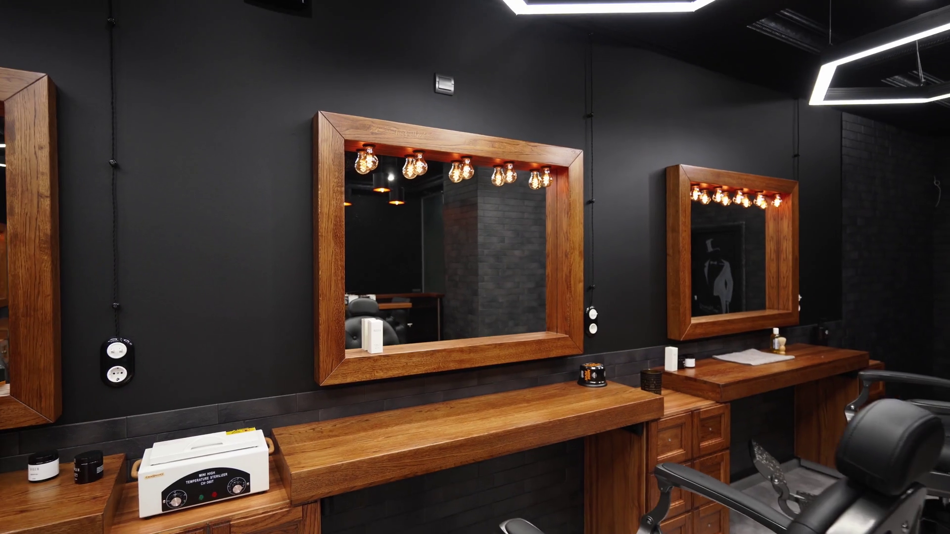 Vintage Barbershop Interior Movement Along The Chairs Wooden Tables And Mirrors Stylish Hair Studio Indoors Stylish Beauty Salon Design With Modern Lighting And Lamps Stock Video Footage Storyblocks