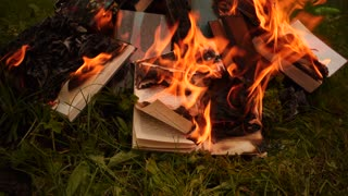 Burning books in a bonfire