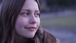 Close Up Portrait Of Beautiful Teen Girl. 60 to 24fps