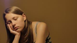 Yawning teen girls face. 4K UHD