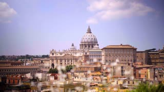 Aerial view of Rome skyline cityscape with Vatican City landmark. Panoramic view on the rooftops of Rome, Italy. 4K UHD