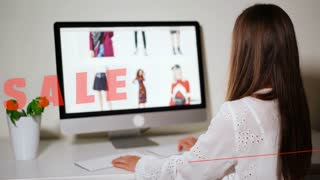 Online sales shopping girl making purchases at home. Teenager searching for discount coupon in the internet