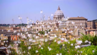 Panoramic view of Rome. Rome skyline cityscape with Vatican City landmark.