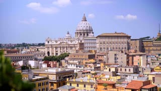 Panoramic view on the rooftops of Rome, Italy. Rome skyline. Vatican City landmark.