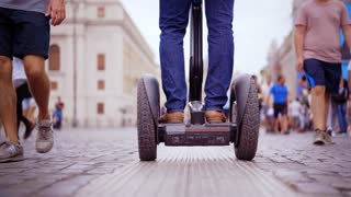 ROME, ITALY - MAR 01, 2018: Tourist travel outdoor on the Segway. Man Enjoy Riding on the Gyro Boards.