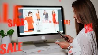 Shopping online concept. Girl making order in the internet using credit card