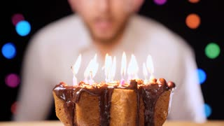 Happy Birthday Candles 8 Year Blurred And Blow Out Stock Video Footage