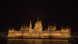 Budapest Hungary Hungarian Parliament Building Night Hyper Lapse