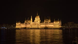 Budapest Hungary Hungarian Parliament Building Night Time Lapse