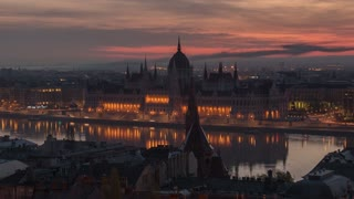 Budapest Hungary Hungarian Parliament Building Sunrise Time Lapse