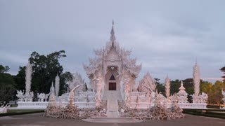 Chiang Rai Thailand Wat Rong Khun White Temple Morning Sunrise Time Lapse