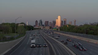 Dallas Skyline and Traffics From Edgefield Bridge Day To Night Time Lapse