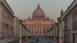 Italy Rome Vatican St Peters Basilica Morning Time Lapse