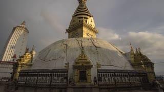 Kathmandu Nepal Swayambhunath Temple Stupa Cloudy Time Lapse