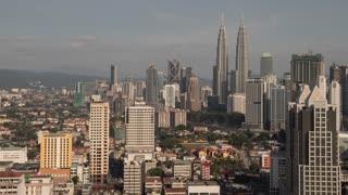 Kuala Lumpur Malaysia Cityscape Skyline Shadow Movement Sunset Time Lapse