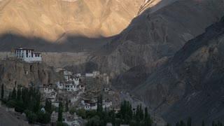 Ladakh India Himalaya Mountain Lamayuru Monastery Shadow Movement Sunset Time Lapse