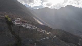 Ladakh India Himalaya Mountain Tibetan Diskit Monastery Ray Of Light Time Lapse