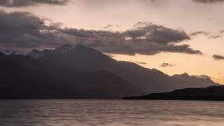 Ladakh India Himalaya Mountain Tibetan Pangong Lake Cloudy Morning Sunrise Time Lapse