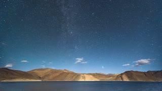 Ladakh India Himalaya Mountain Tibetan Pangong Lake Starry Night Sky Time Lapse